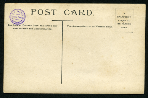 Reverse of Talbot card with photographer's backstamp